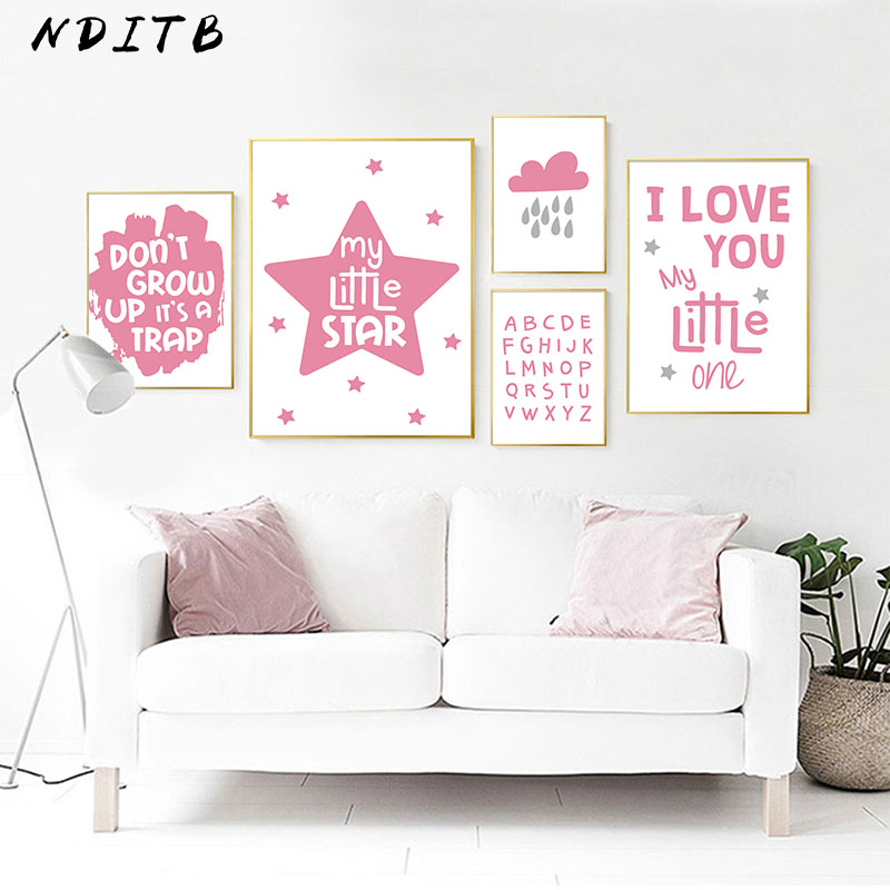 US $2.7 53% OFF|Baby Girl Nursery Quotes Wall Art Canvas Poster Print  Cartoon Painting Nordic Kids Decoration Pictures Living Room Decor-in  Painting & ...