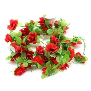 Image 2 - 가짜 실크 장미 꽃 아이비 포도 나무 인공 꽃 녹색 잎 홈 웨딩 장식 매달려 갈 랜드 홈 장식