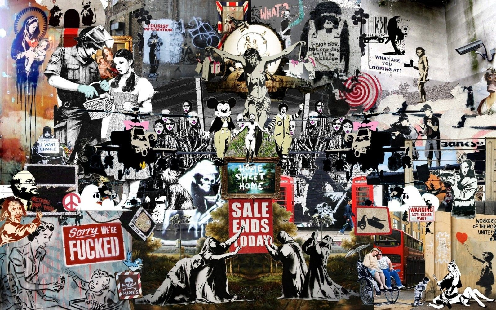 Populaire Banksy Collage Insane Street Art Canvas Print Huge 36 x 24 print  LT08