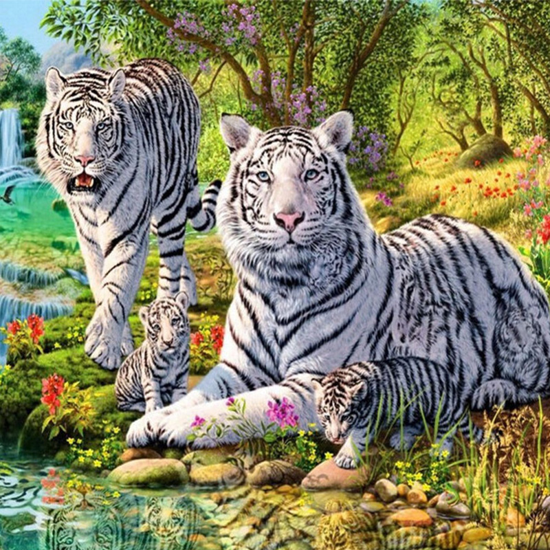 White Tiger 50x50CM Rhinestones Cross Stitch New 3d Full Diy Diamond Painting Mosaic Embroidery Household Decoration Drawings in Diamond Painting Cross Stitch from Home Garden