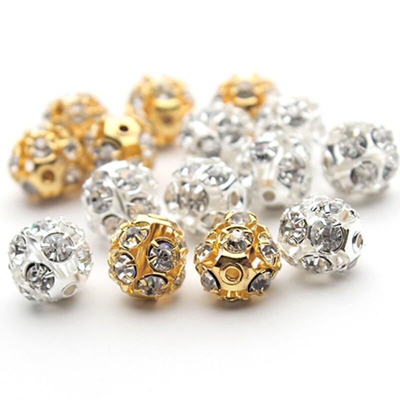 Lot de 30 perles d'espacement en cristal, perles rondes pavées en cristal, strass colorées pour la fabrication de bijoux, bricolage, vente en gros, 30 pièces/lot