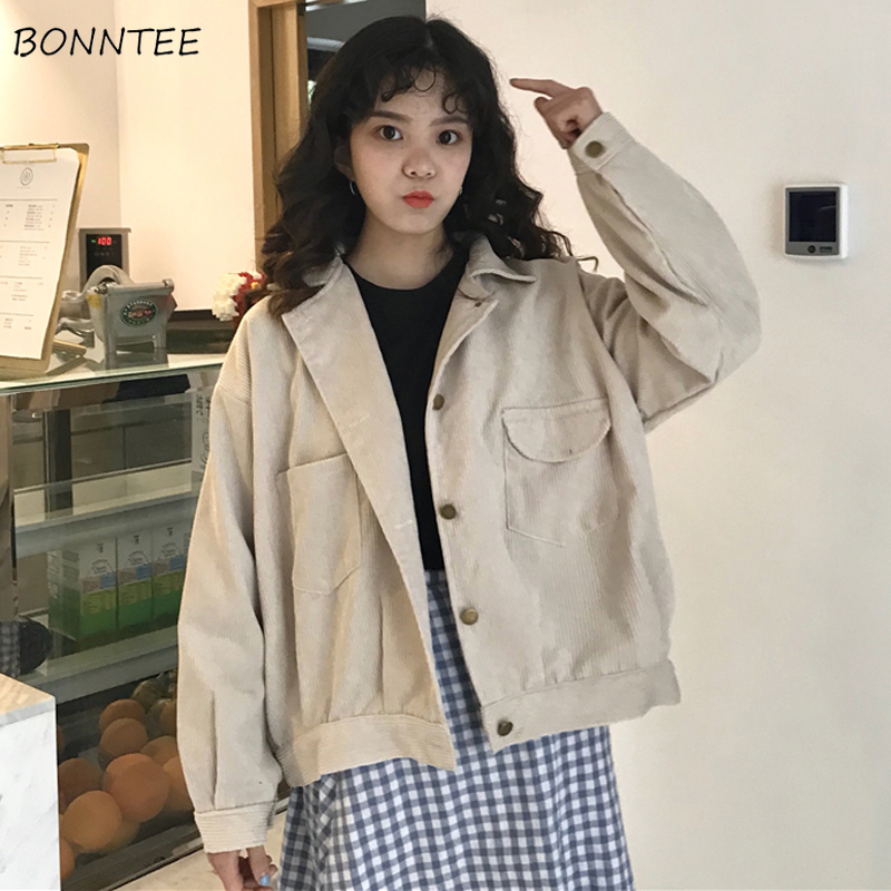 Jackets Women Solid Elegant Korean Style Retro All-match Pockets Students Simple Leisure Female Lovely Single Breasted Womens