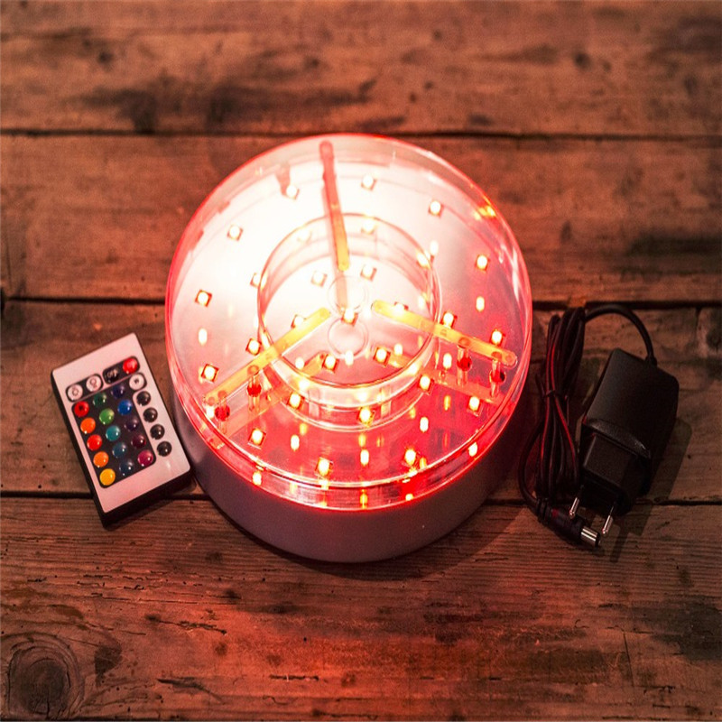 Rechargeable Battery Operated 20CM Round LED Under Vase Light Base Multicolors RGB LED Light For Under Vase Table Lighting