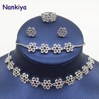 Nankiya New Flowers Tennis Choker Necklace 4pcs Sets Luxury Cubic Zirconia Combination Bridal Jewelry Ornament Set NC384