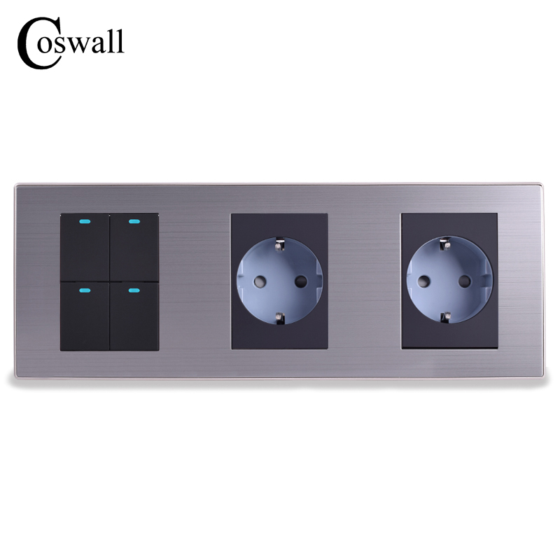 Coswall 16A EU Standard Wall Double Socket + 4 Gang 2 Way Light Switch With LED Indicator Stainless Steel Panel 236*86mm scinder switched socket package 15 steel frame two or three five hole electrical outlet wall switch panel switch