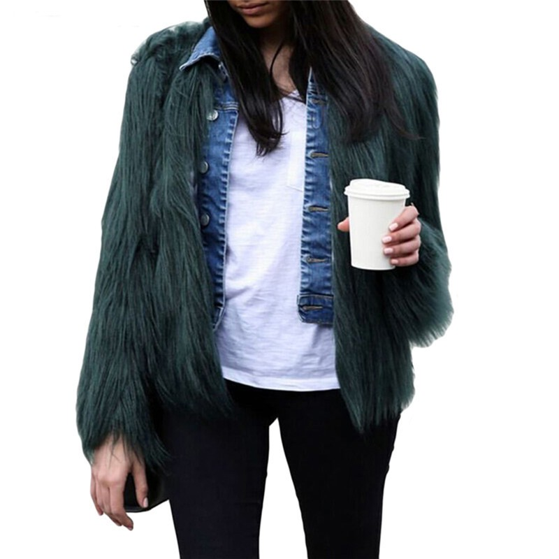 Fluffy faux fur coat green fur jackets overcoats outerwear women winter coats fourrure pelliccia fake fox