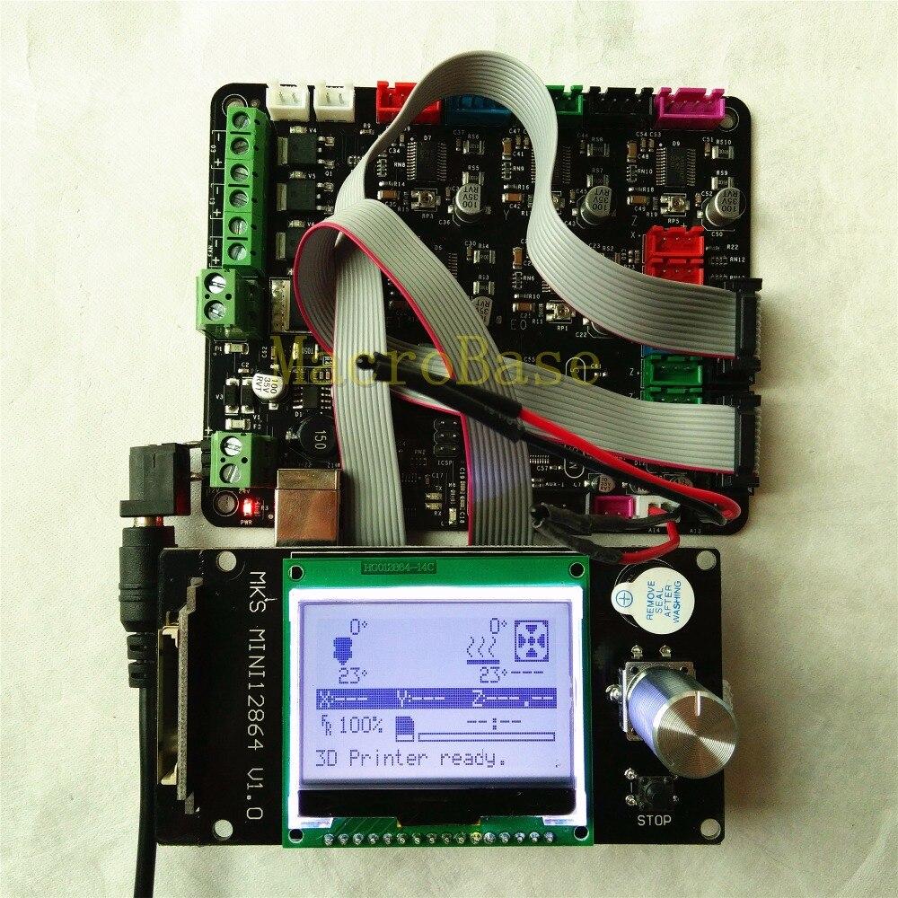 MKS BASE carte mère intégrée + MKS MINI12864LCD panneau bricolage kit de démarrage rampes 1.4 mega 2560 tout en un kits de carte mère Kossel