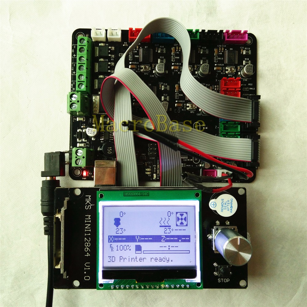 MKS BASIS integrierte motherboard + MKS MINI12864LCD panel DIY beginer kit rampen 1,4 mega 2560 alle in diejenigen mainboard Kossel kits-in 3D Druckerteile & Zubehör aus Computer und Büro bei AliExpress - 11.11_Doppel-11Tag der Singles 1