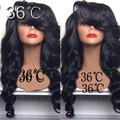 Unprocessed Brazilian Virgin Natural Body Wave Glueless 150 Density Human Hair Full Lace Wigs With Bangs Lace Wig With Baby Hair