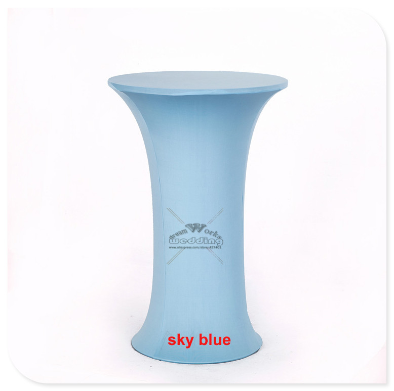 Sky Blue Color Stretch Cocktail Poseur Dry Bar Spandex Table Cover for Round Base highbo ...