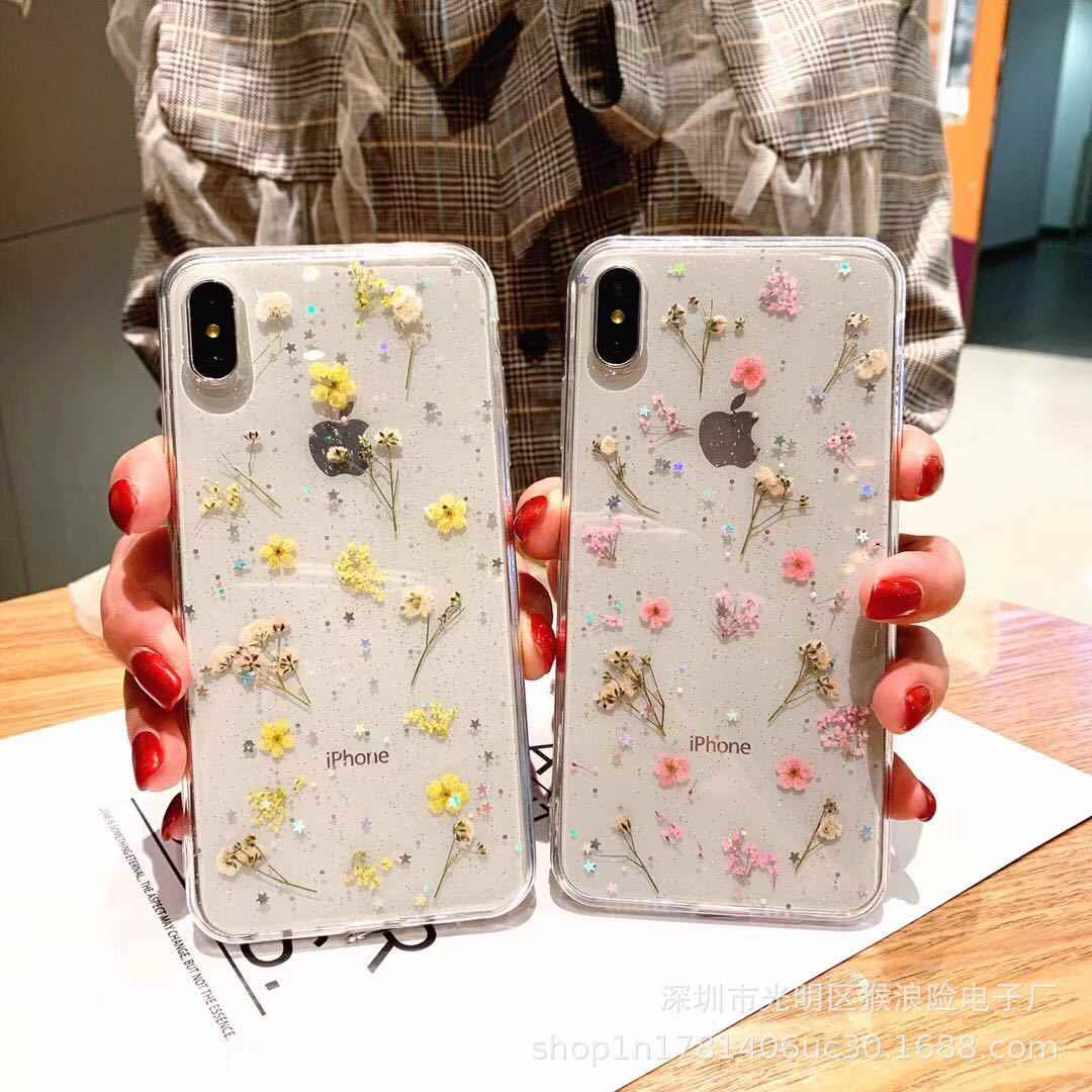 Nyata Kering Bunga Transparan TPU Cover UNTUK iPhone X 6 6 S 7 7 Plus Phone Case untuk iPhone XR XS Max Cover