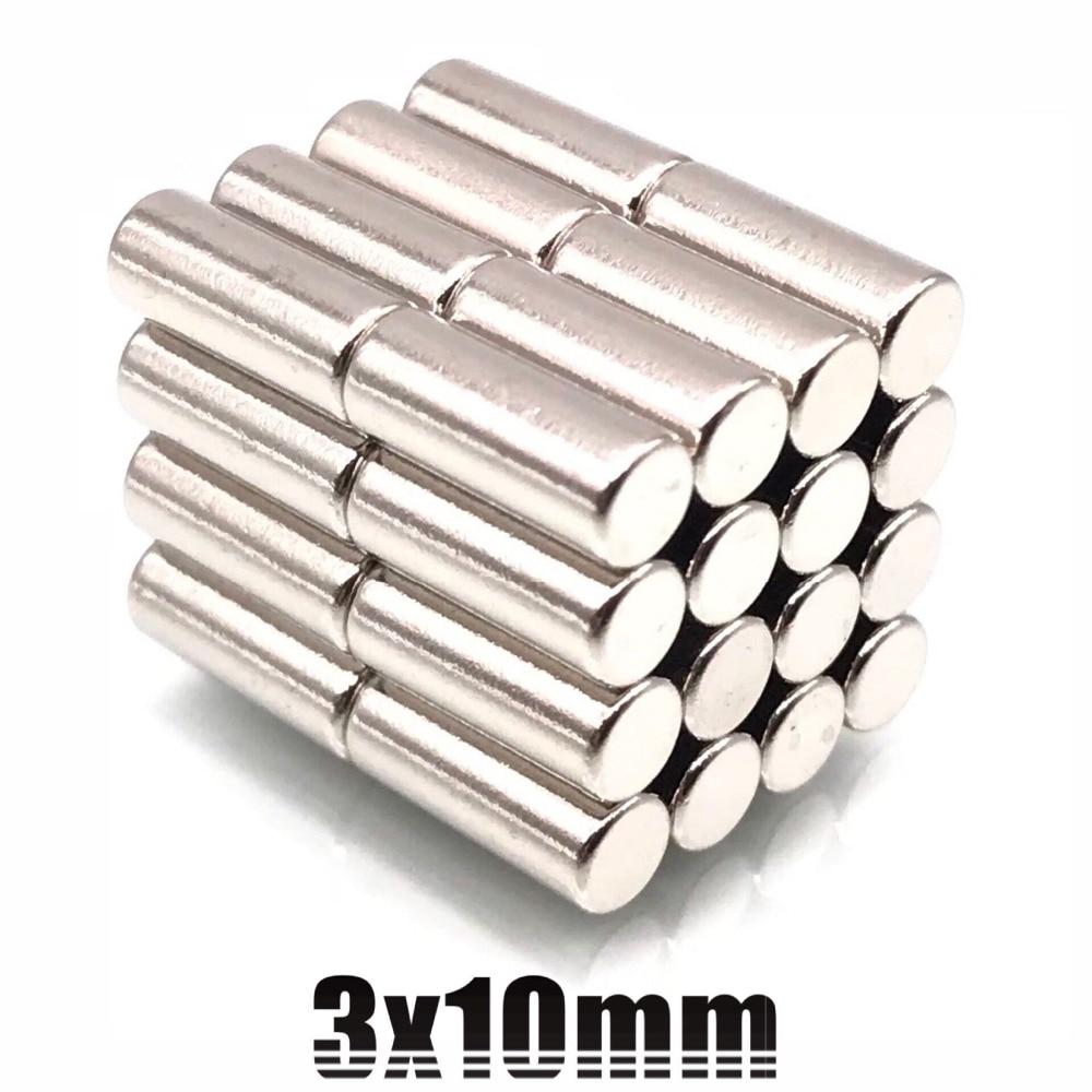 10/20/50/100pcs 3x10 Bulk Neodymium Fridge Warhammer Craft Magnets Dia 3mm x 10mm N35 Super Strong NdFeB Bar Cylinder Rod 3*10(China)