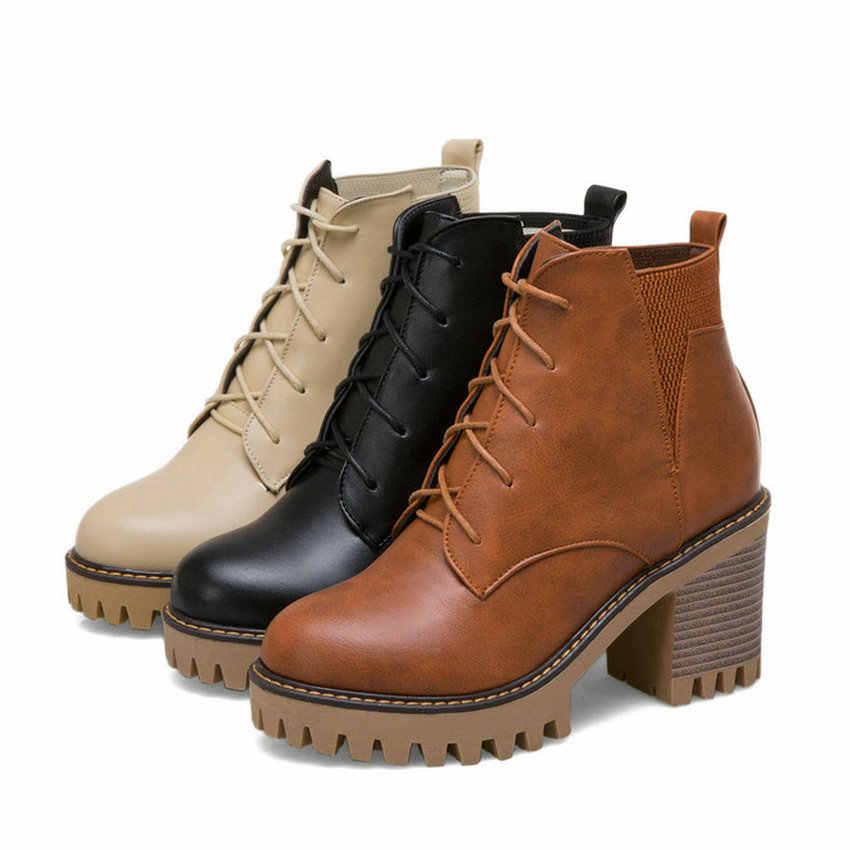 QUTAA 2020 Kış çizmeler kadın ayakkabıları Pu Deri Kadın yarım çizmeler Kare Yüksek Topuk Moda Csual Siyah Kadın Boots Büyük Boyutu 34- 43