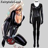 Удивительный Человек паук черный костюм кошки Косплей костюмы на Хэллоуин супергерой паук Человек сексуальный кот кожаный комбинезон