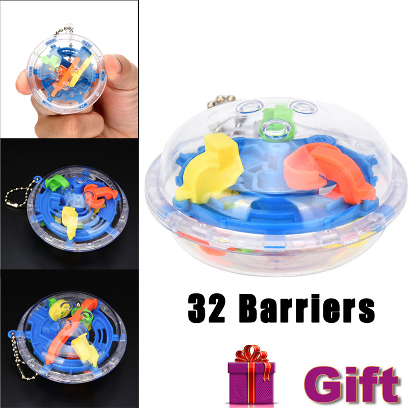 32 Barriers Mini Ball Maze Intellect 3d Puzzle Toy Balance Barrier Magic Labyrinth Spher ...
