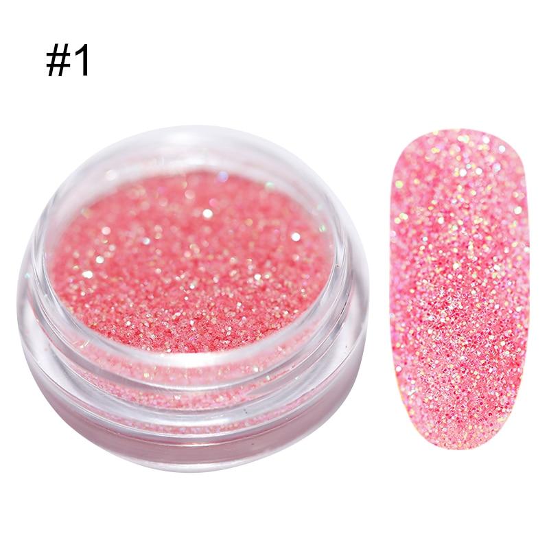 1 г/кор. голографические блёстки для ногтей порошок градиент для УФ гель-лака ногтей украшения сахарный блеск окунание маникюр Дизайн ногтей - Цвет: 1