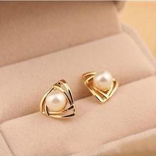 simulated pearl earrings fashion jewelry aros brinco studs earrings for women oorbellen geometric triangle stud earing orecchini цены