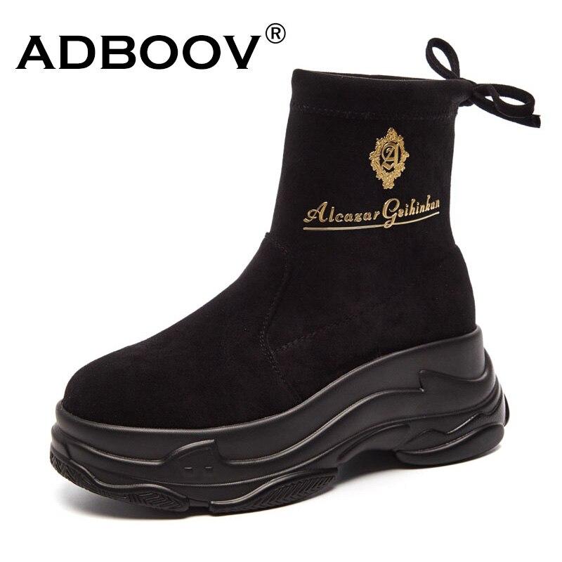 ADBOOV Novo Deslizamento Em Botas de Plataforma Ankle Boots de Camurça Mulheres Moda Outono Inverno High Top Sneakers Mulher Botas Mujer Invierno preto