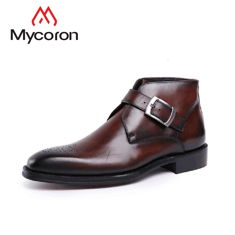 MYCORON Spring/Autumn Genuine Leather Shoes Luxury Fashion Men British Style Casual Shoes Men Motorcycle Male Boots Sepatu Pria vesonal 2017 brand casual male shoes adult men crocodile grain genuine leather spring autumn fashion luxury quality footwear man