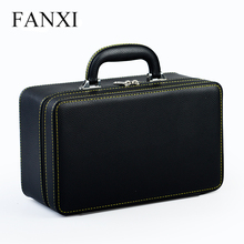 FANXI express shipping durable black PU leather handle jewelry case travel jewellery boxes for counter exhibitor with 3 layers