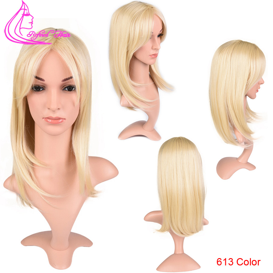 Refined Hair 12Inch Honey Blond Straight Synthetic Wigs For Black Women Daily Use Heat Resistant Fiber Full Wig