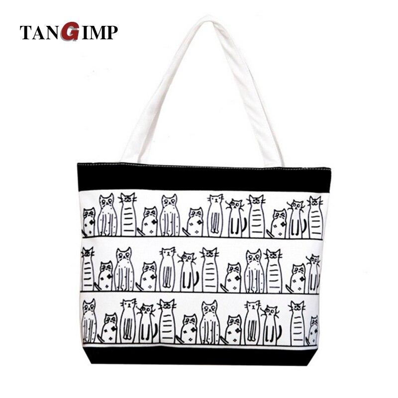 TANGIMP Canvas Beach Bags Handbag Cat Girl Angel Dog Fish Animal Printed  Tote Female Casual Women d8fc7018d1162