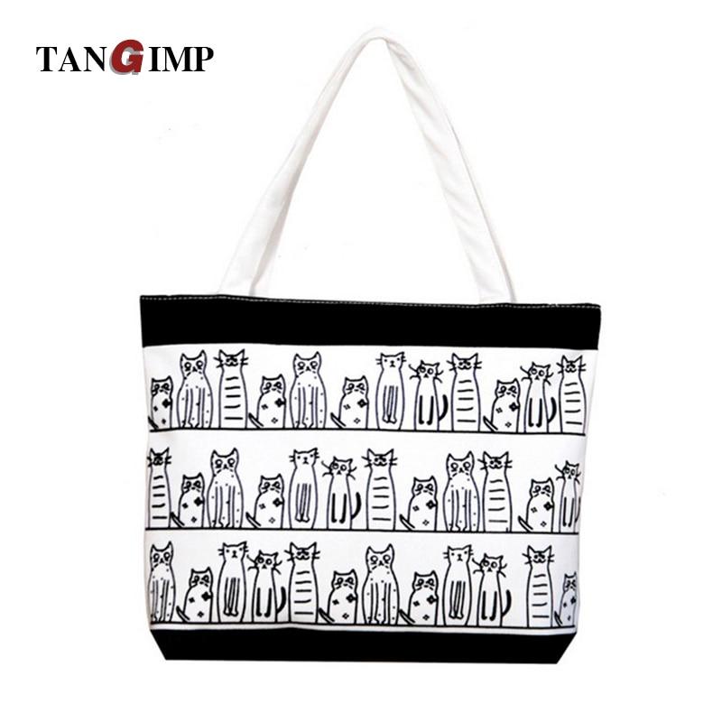 Tangimp bolsas de playa bolso cat chica ángel peces perro animal impreso tote mu