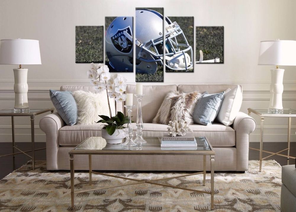 OAKLAND RAIDERS HELMET- HQ 5-PIECE ART CANVAS PRINT..