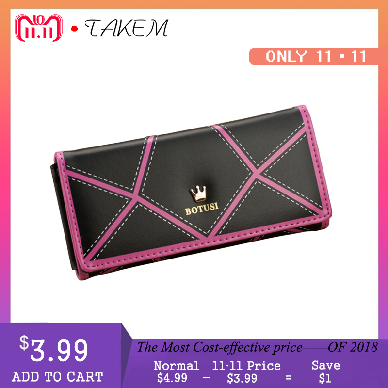 TAKEM 2018 PU Leather Women hasp Long Wallet Ladies Purse Female Wallets Purse Card Holder coin cash bag Portefeuille femme brand 3 fold genuine leather women wallets coin pocket female clutch travel wallet portefeuille femme cuir red purse card holder