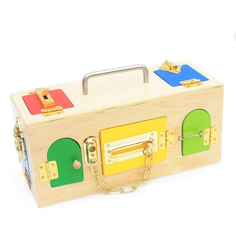 Montessori matériaux vie pratique jouet serrure boîte ouvrir la serrure clé éducatifs en bois jouets pour enfants de base et compétences de la vie jouet - 4