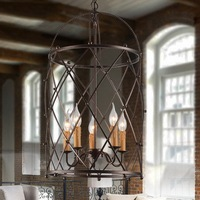 American Industrial Style Vintage Wrought Iron Birdcage Pendant Light Parlor Light Coffee Shop Decoration Lamp Free