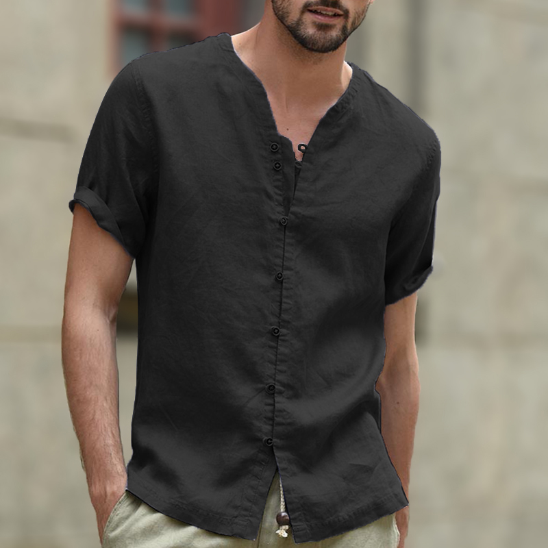 England Style Vintage Men Short Sleeve Shirt Tee Cotton Linen V Neck Button Covered Loose Big Size M-3XL White Vacation Beach