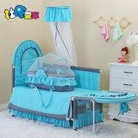 EU standard export No Screw Multi functional Child Bed newborn sleeping bed send bedding set Iron Cloth Crib Cradle baby bed