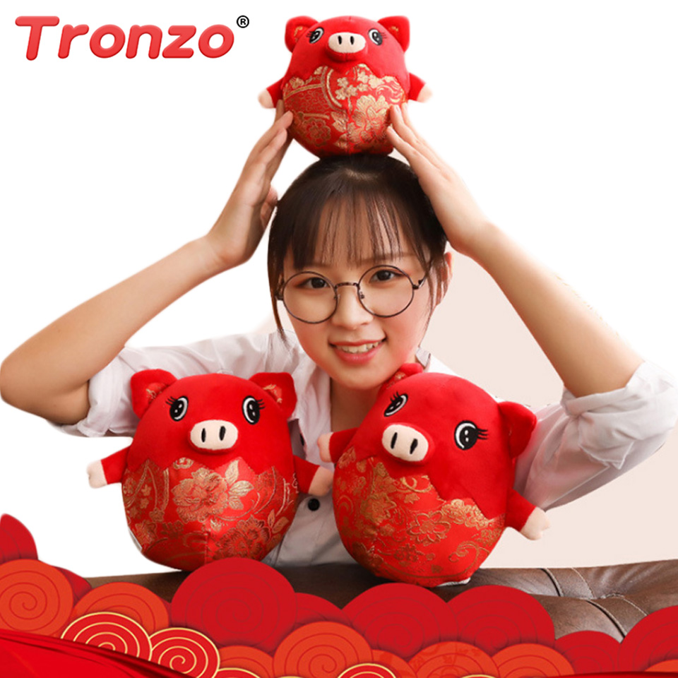 купить Tronzo 2019 Pig Year Kawaii China Dress Mascot Pig Plush Pig Soft Toys Chinese New Year Party Decoration Gift For Children Girl