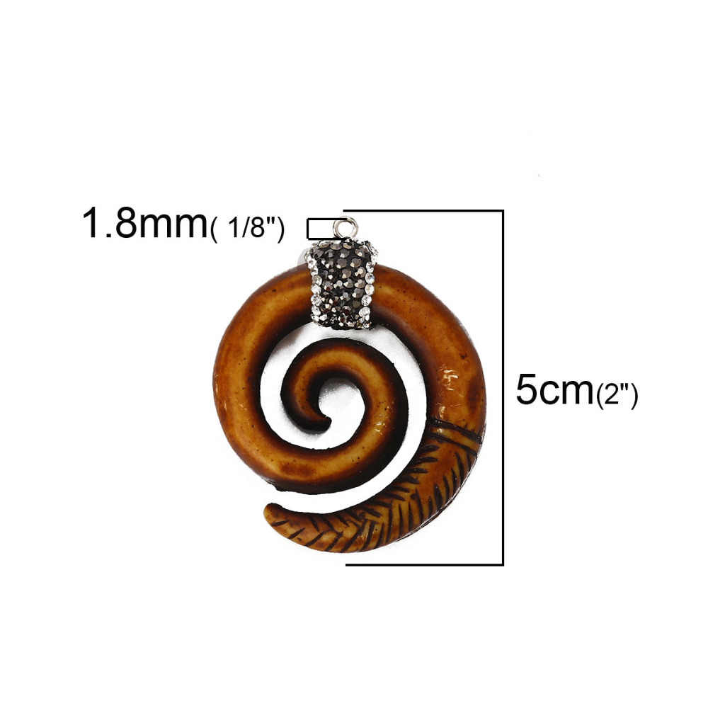 Little Clear Rhinestone Silver Spiral Pendant Charms Small Moonstone Earring Findings S18-10 2