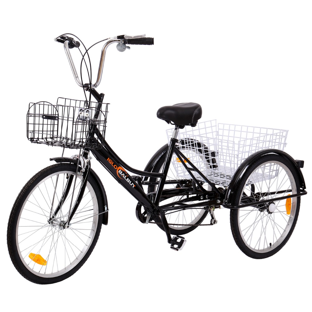 (Ship from Germany) 24 6 speed 3 Wheel Adult Tricycle Bicycle Trike Cruise Bike increase 2 Basket