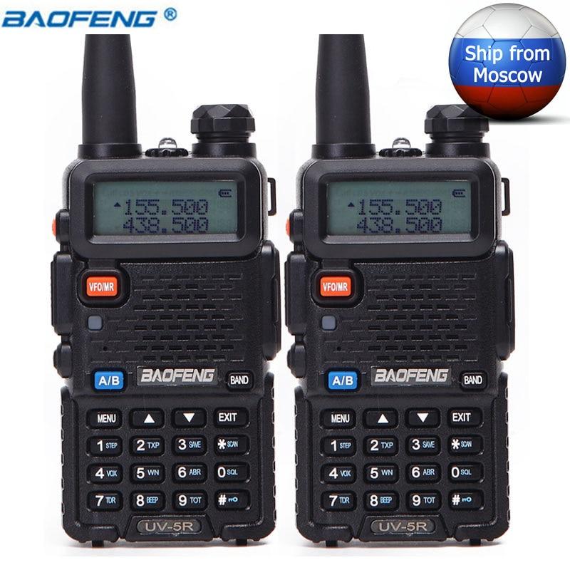 2 Pcs BaoFeng UV-5R 5 W Double Bande VHF/UHF à Deux Voies de Poche Radio CB Talkie Walkie UV5R Jambon Radio Communicateur Émetteur-Récepteur UV 5R