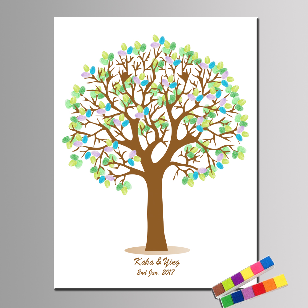 Custom Names and date Party Guestbook For Fingerprint Sign Wedding Decoration Fingerprint Tree Birthday Baptism and 2 Inkpads