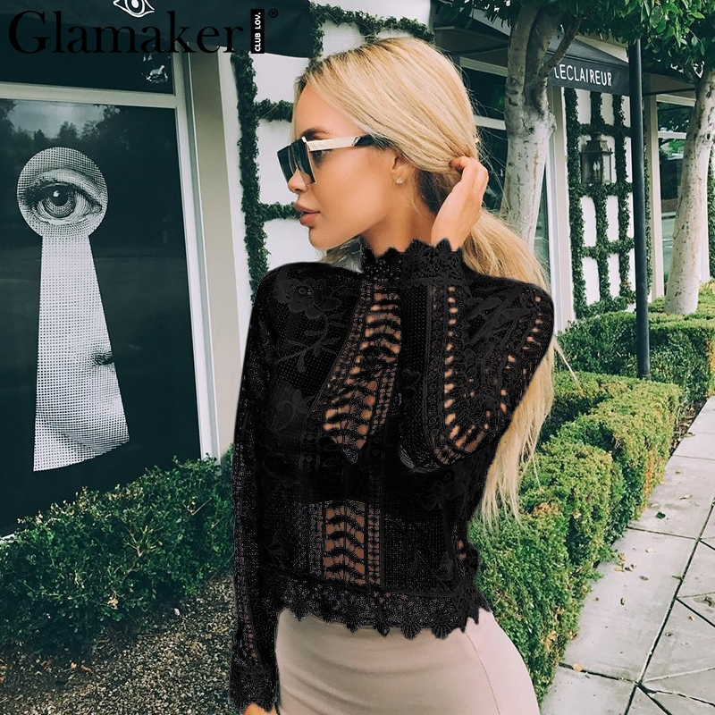 Glamaker Elegant Lace Blouse Shirt Sexy Hollow Out Blouse Shirt Summer Women Shirts Floral Long Sleeve Lace Up Blusas Blouse