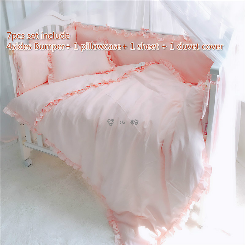 7 pcs/set pure white pink blue gray color baby boy girl crib bedding sets bumper baby cot set baby bed protector baby bedding