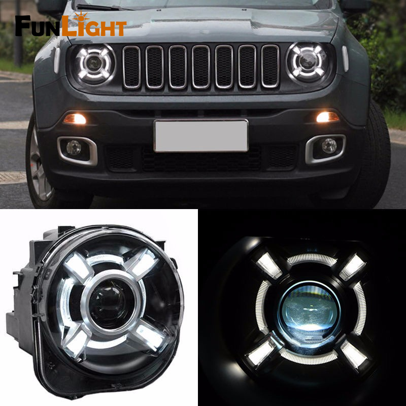 For 2015-2017 Jeep Renegade HID Headlight with DRL and Bi-xenon Projector For Jeep Renegade BU HID H4 Head Lamp Headlights шлифовальная машина rws ушм 115 650