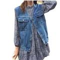 Spring and summer monsoon loose POCKET DENIM VEST female Korean retro sleeveless vest vest all-match cowboy Girl