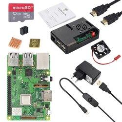 Оригинальный Великобритании RS Raspberry Pi 3 Модель B Plus + чехол + вентилятор + Мощность адаптер + радиатор + 16 г 32 г SD Card + HDMI кабель для Raspberry Pi 3B + комп...