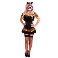 Abbille Ot Leopard Tiger Cat Costume Halloween Sexy Corset Dress Role Play Costumes Women Adults Animal