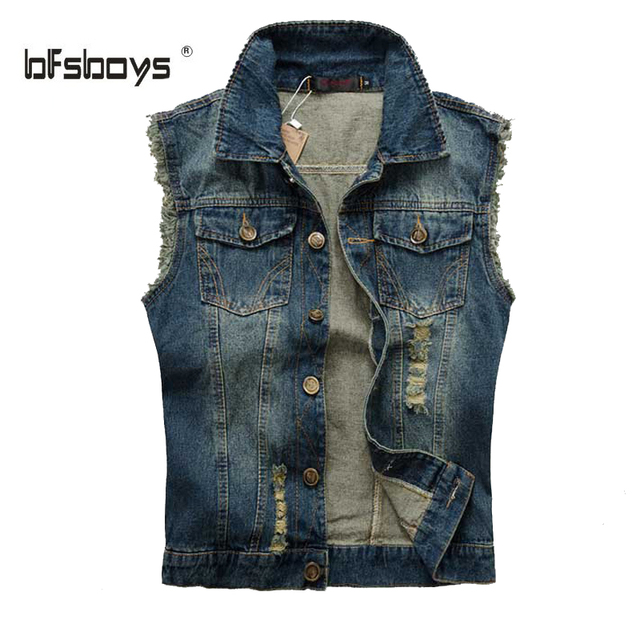 2015 New Arrival Fashion Hole Decoration Men's Denim Vest Brand Jeans Vest Men Cowboy Vest Denim Sleeveless Jacket Free Shipping