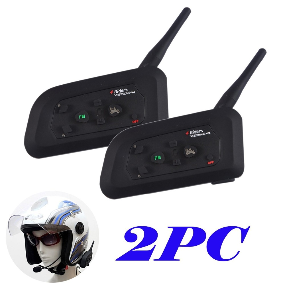 Livraison gratuite 2 pcs v4 moto casque bluetooth 3 0 sans fil interphone interphone casque 1200 m pour 4 coureurs fm radio