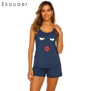 Image 1 - Ekouaer женское нижнее белье, шорты, пижамы, круглый вырез, регулируемый ремень, комплект пижам с принтом