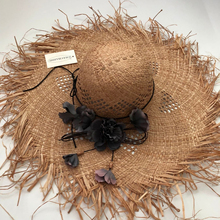 2019  New Floral straw hat bow wide ashgrass female Sun cap beach visor outdoor holiday beach sun protection hat Collapsible