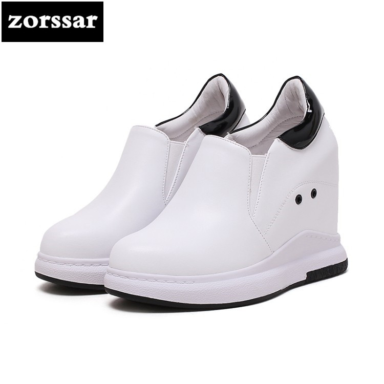 {Zorssar} 2018 NEW Genuine leather ladies casual shoes Slip-on womens increased internal High heels Platform pumps Size 31-40 zorssar 2018 spring new casual women shoes genuine leather heels pumps slip on wedges platform high heels womens creepers shoes