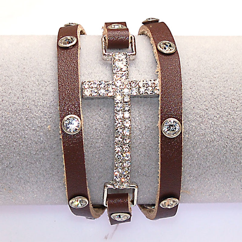 Crystal Micro Pave CZ Disco Cross Charm Double Wrap Real Leather Wrapped Charm Bracelets For Women Gift B1473 6
